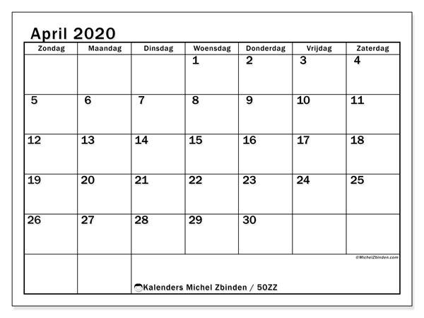 Kalender april 2020, 50ZZ. Kalender om gratis af te drukken.