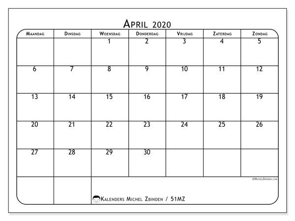 Kalender april 2020, 51MZ. Gratis afdrukbare kalender.