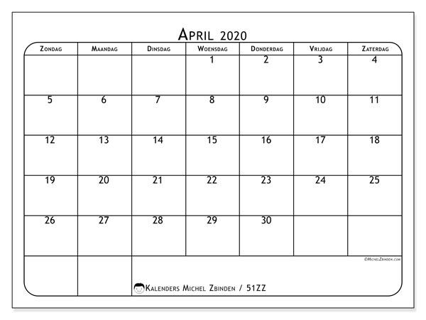 Kalender april 2020, 51ZZ. Kalender voor de maand die gratis moet worden afgedrukt.