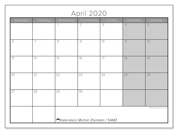 Kalender april 2020, 54MZ. Maandkalender om gratis te printen.