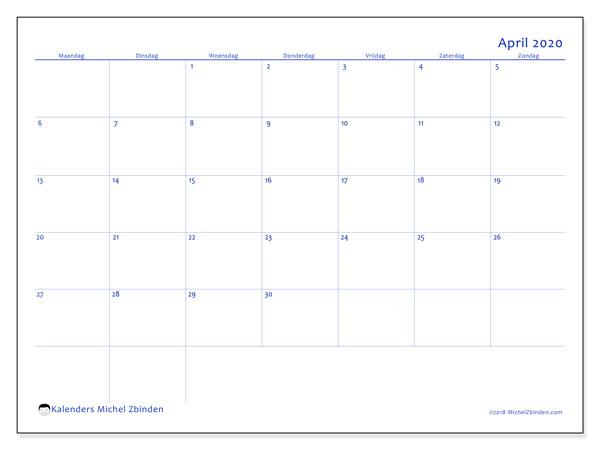 Kalender april 2020, 55MZ. Agenda om gratis te printen.