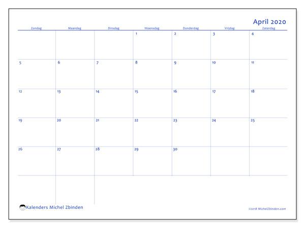 Kalender april 2020, 55ZZ. Gratis kalender om af te drukken.