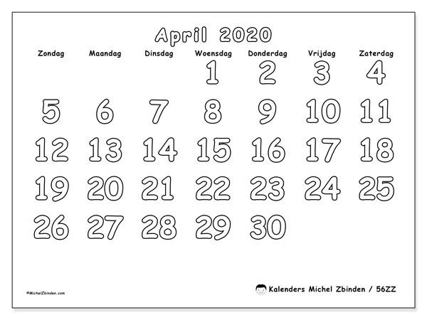 Kalender april 2020, 56ZZ. Gratis kalender om af te drukken.