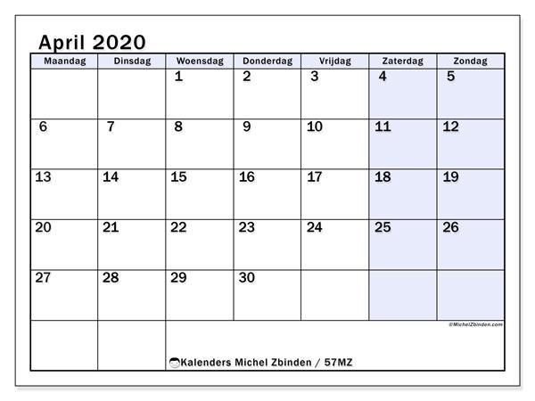 Kalender april 2020, 57MZ. Schema om gratis te printen.