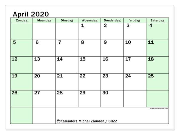 Kalender april 2020, 60ZZ. Gratis kalender om af te drukken.