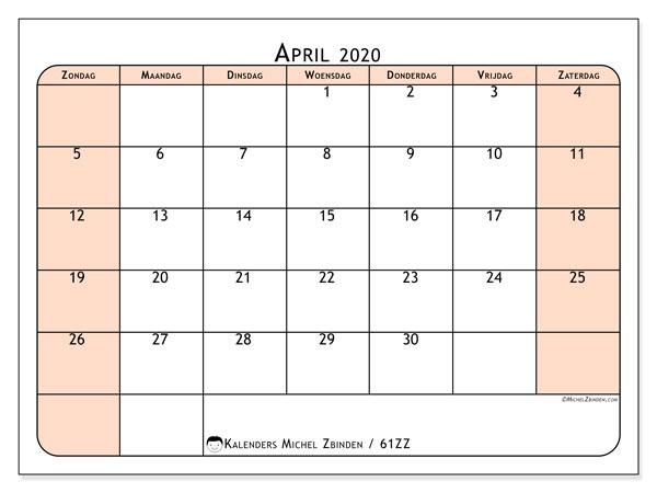 Kalender april 2020, 61ZZ. Kalender voor de maand die gratis moet worden afgedrukt.