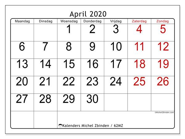 Kalender april 2020, 62MZ. Kalender voor de maand die gratis moet worden afgedrukt.