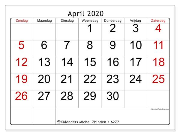 Kalender april 2020, 62ZZ. Gratis afdrukbare kalender.