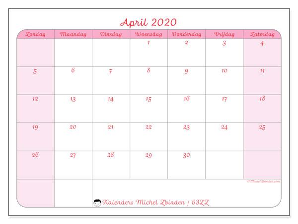 Kalender april 2020, 63ZZ. Gratis kalender om af te drukken.