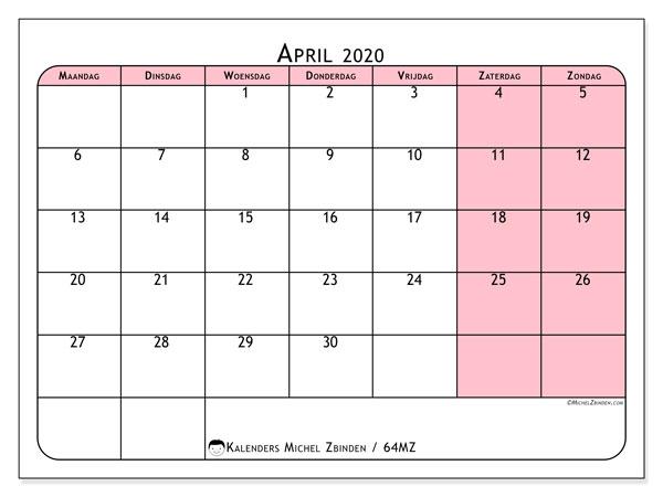 Kalender april 2020, 64MZ. Agenda om gratis te printen.
