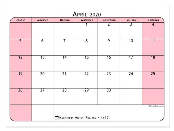 Kalender april 2020, 64ZZ. Kalender voor de maand die gratis moet worden afgedrukt.