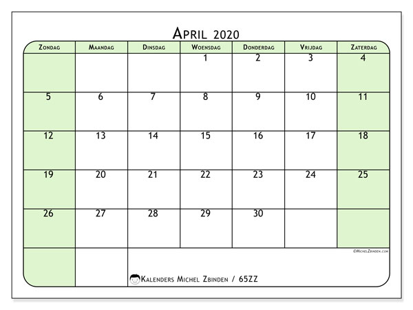 Kalender april 2020, 65ZZ. Kalender om gratis te printen.