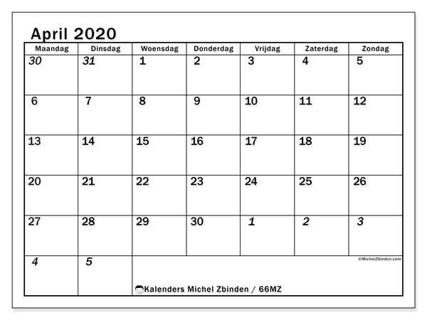 Kalender april 2020, 66MZ. Maandkalender om gratis te printen.