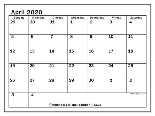 Kalender april 2020, 66ZZ. Gratis kalender om af te drukken.