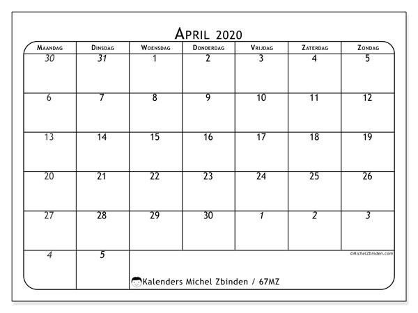 Kalender april 2020, 67MZ. Kalender voor de maand die gratis moet worden afgedrukt.
