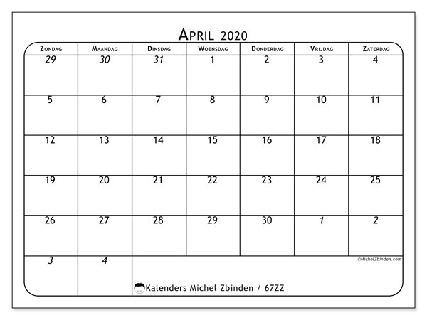 Kalender april 2020, 67ZZ. Agenda om gratis te printen.