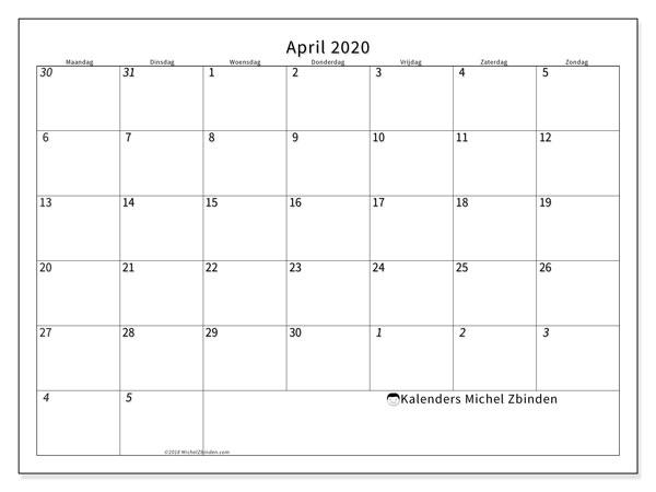 Kalender april 2020, 70MZ. Gratis kalender om af te drukken.