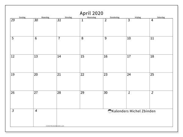Kalender april 2020, 70ZZ. Agenda om gratis te printen.