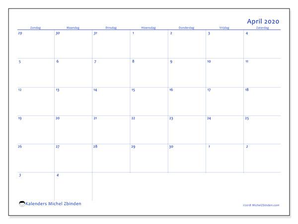 Kalender april 2020, 73ZZ. Gratis kalender om af te drukken.