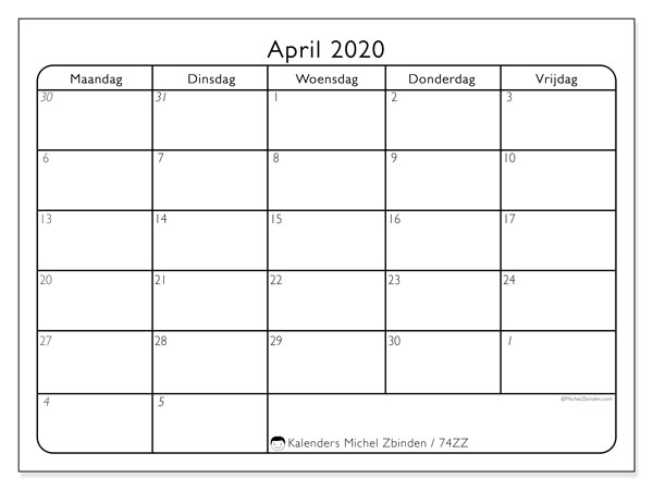 Kalender april 2020, 74ZZ. Kalender om gratis te printen.