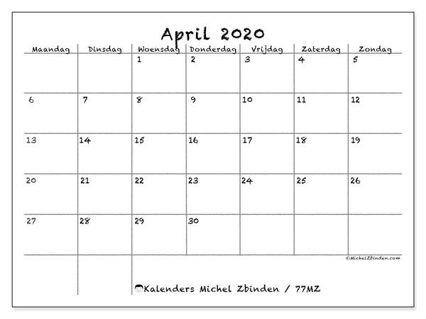 Kalender april 2020, 77MZ. Kalender voor de maand die gratis moet worden afgedrukt.
