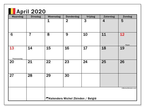 Kalender april 2020 met de feestdagen van België. Agenda om gratis te printen.
