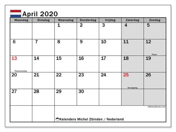 Kalender april 2020, met feestdagen in Nederland. Kalender feestdagen om gratis te printen.