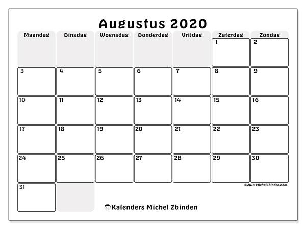 Kalender augustus 2020, 44MZ. Maandkalender om gratis te printen.