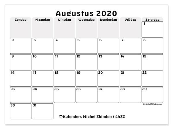Kalender augustus 2020, 44ZZ. Gratis afdrukbare kalender.