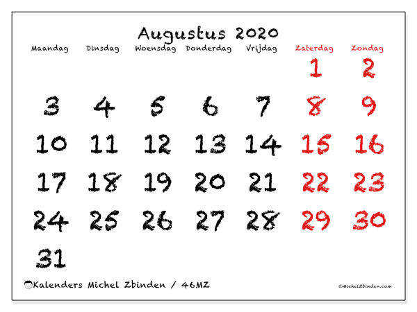 Kalender augustus 2020, 46MZ. Gratis printbare kalender.