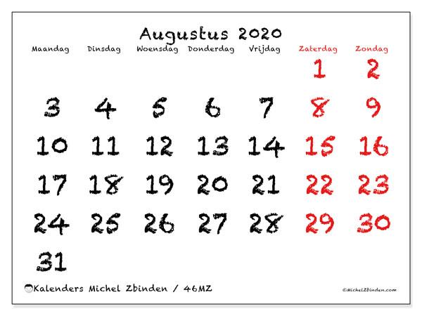 Kalender augustus 2020, 46MZ. Agenda om gratis te printen.
