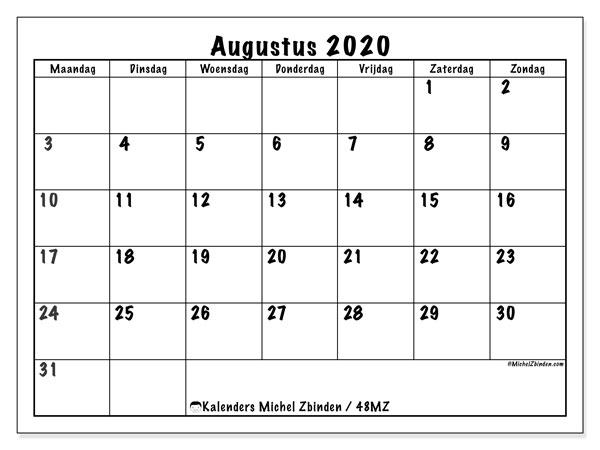 Kalender augustus 2020, 48MZ. Kalender om gratis af te drukken.