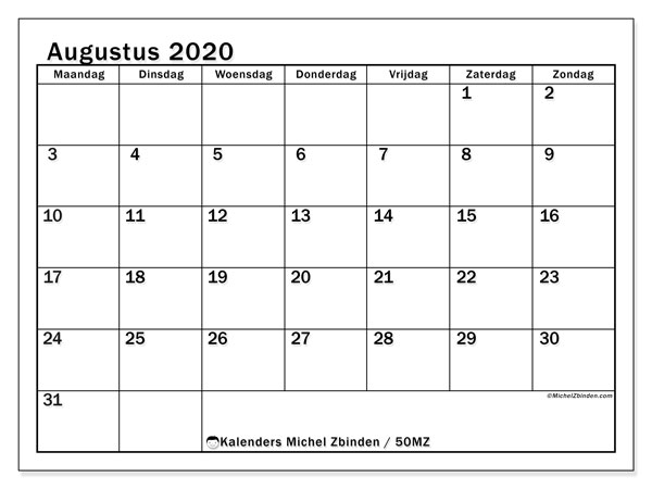 Kalender augustus 2020, 50MZ. Kalender om gratis af te drukken.