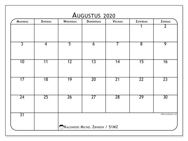 Kalender augustus 2020, 51MZ. Kalender voor de maand die gratis moet worden afgedrukt.