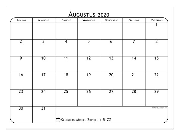 Kalender augustus 2020, 51ZZ. Gratis printbare kalender.