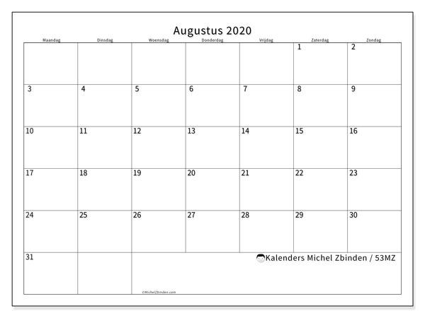 Kalender augustus 2020, 53MZ. Schema om gratis te printen.