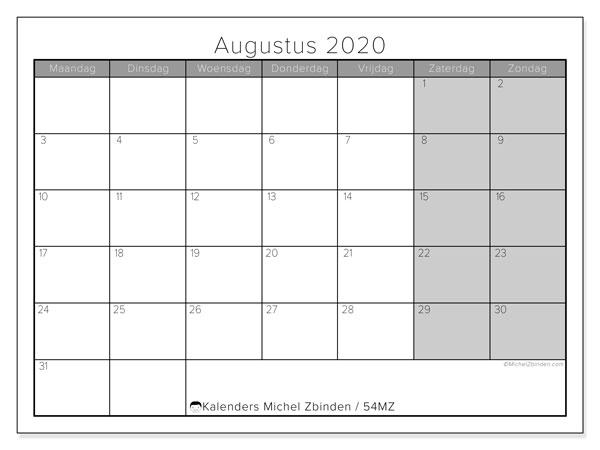 Kalender augustus 2020, 54MZ. Gratis kalender om af te drukken.