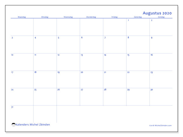Kalender augustus 2020, 55MZ. Gratis kalender om af te drukken.
