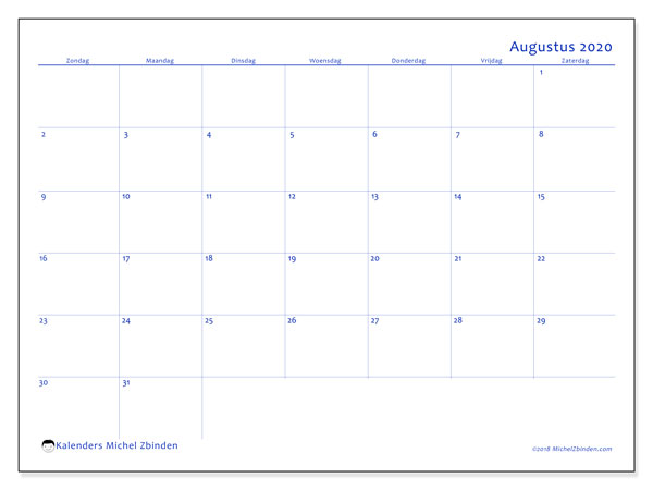 Kalender augustus 2020, 55ZZ. Kalender voor de maand die gratis moet worden afgedrukt.