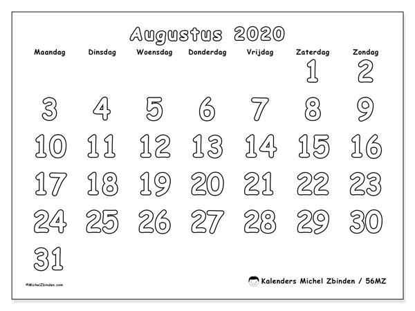 Kalender augustus 2020, 56MZ. Gratis kalender om af te drukken.