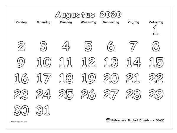 Kalender augustus 2020, 56ZZ. Kalender voor de maand die gratis moet worden afgedrukt.