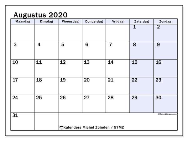 Kalender augustus 2020, 57MZ. Gratis kalender om af te drukken.