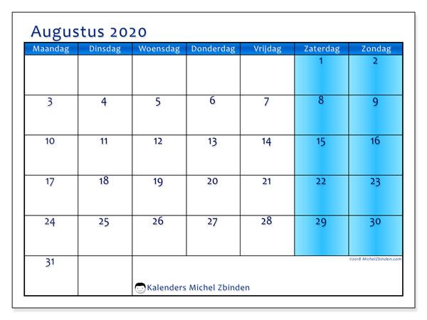 Kalender augustus 2020, 58MZ. Kalender om gratis te printen.