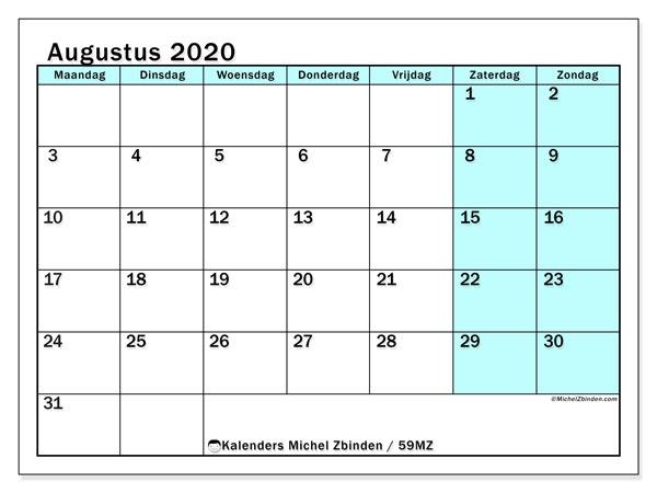 Kalender augustus 2020, 59MZ. Schema om gratis te printen.