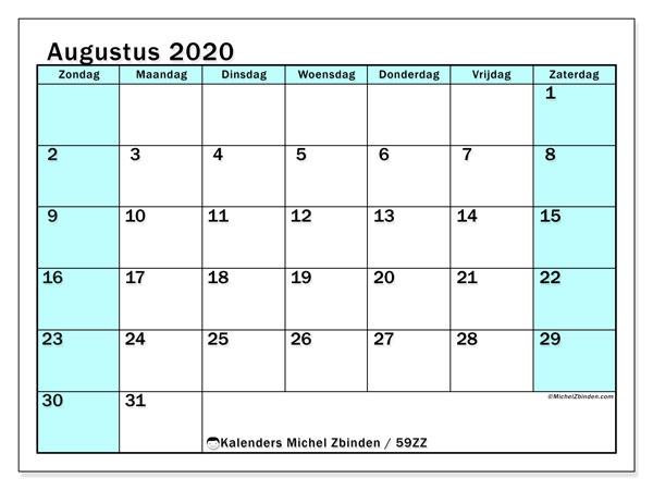 Kalender augustus 2020, 59ZZ. Kalender voor de maand die gratis moet worden afgedrukt.