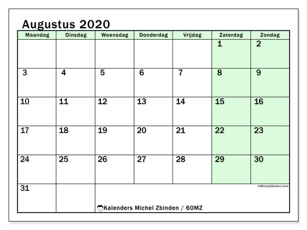 Kalender augustus 2020, 60MZ. Maandkalender om gratis te printen.