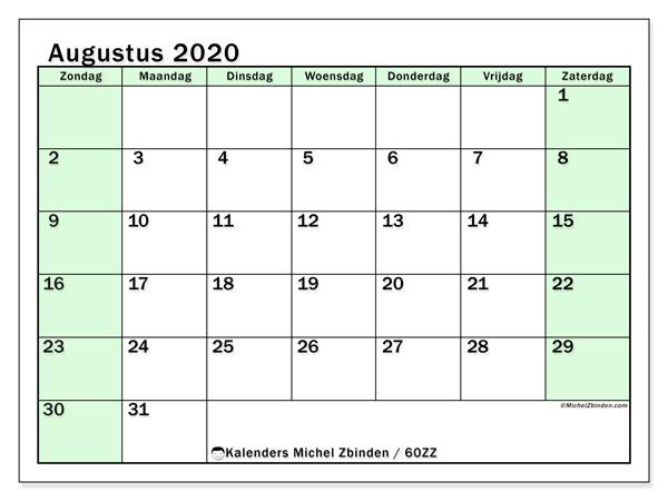 Kalender augustus 2020, 60ZZ. Kalender om gratis af te drukken.