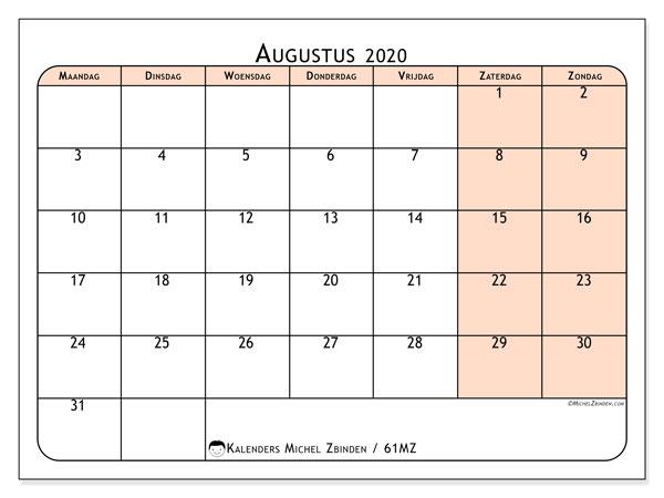 Kalender augustus 2020, 61MZ. Kalender voor de maand die gratis moet worden afgedrukt.