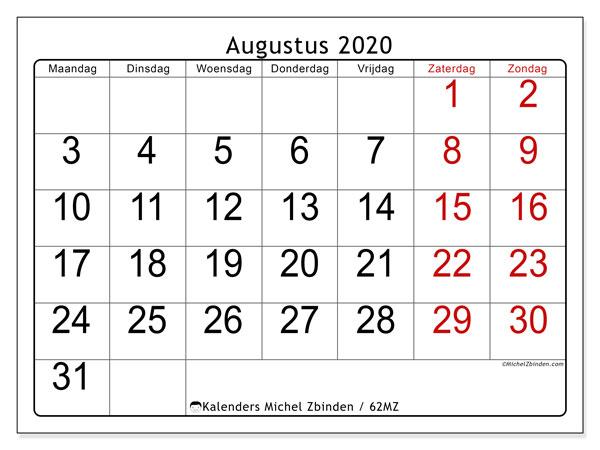 Kalender augustus 2020, 62MZ. Kalender om gratis te printen.