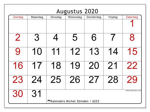 Kalender augustus 2020, 62ZZ. Gratis afdrukbare kalender.